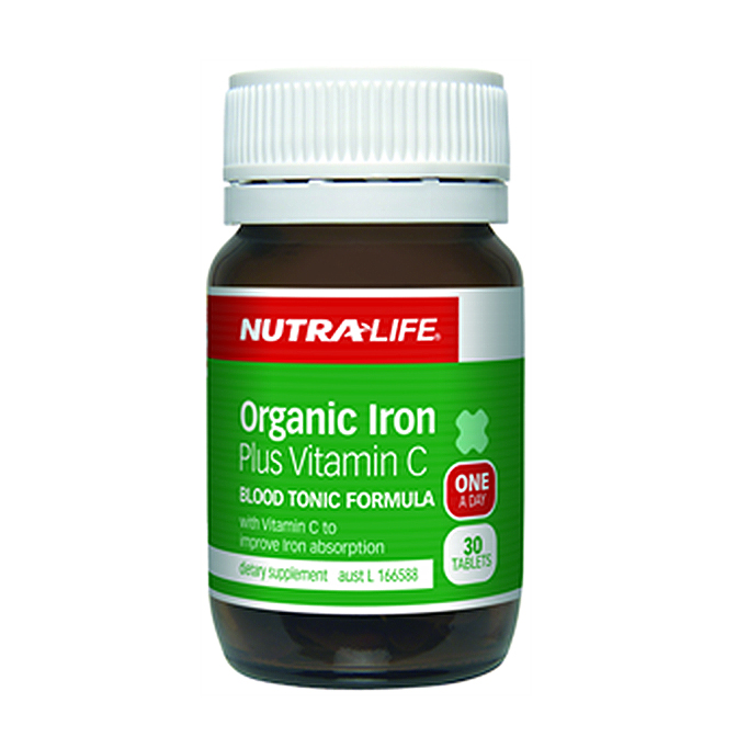 NutraLife - Organic Iron Plus Vitamin C - 30 tablets